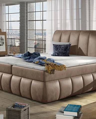 Vareso 160 čalúnená manželská posteľ s úložným priestorom hnedá (Monolith 09)