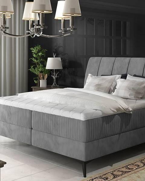 NABBI Altama 160 čalúnená manželská posteľ s úložným priestorom sivá (Jasmine 90)