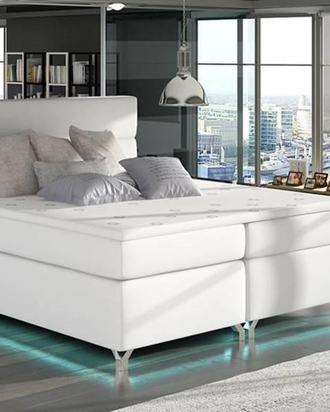 NABBI Avellino 160 čalúnená manželská posteľ s úložným priestorom biela