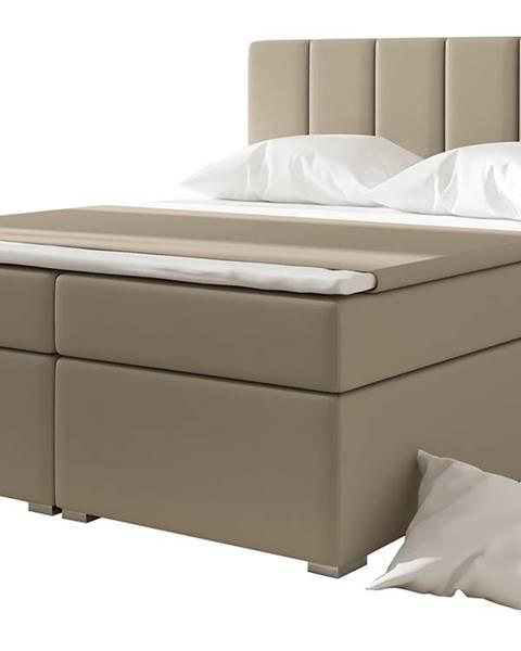 NABBI Barmo 140 čalúnená manželská posteľ s úložným priestorom béžová