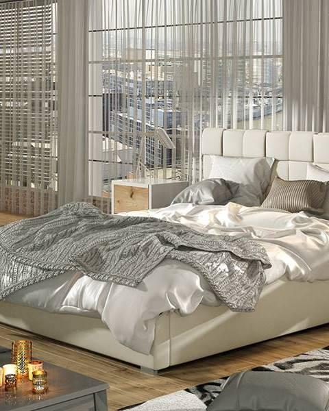 NABBI Galimo UP 140 čalúnená manželská posteľ s roštom béžová