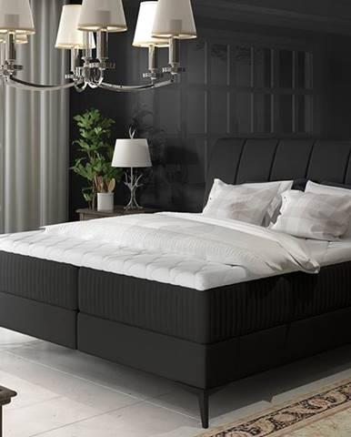 Altama 180 čalúnená manželská posteľ s úložným priestorom čierna (Soft 11)