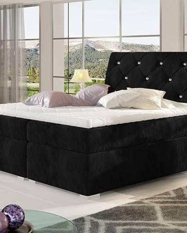 Beneto 180 čalúnená manželská posteľ s úložným priestorom čierna (Kronos 07)
