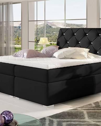 Beneto 180 čalúnená manželská posteľ s úložným priestorom čierna (Soft 11)