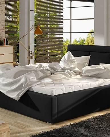 Branco 180 čalúnená manželská posteľ s roštom čierna