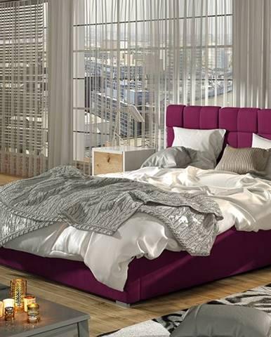 Galimo 140 čalúnená manželská posteľ s roštom vínová