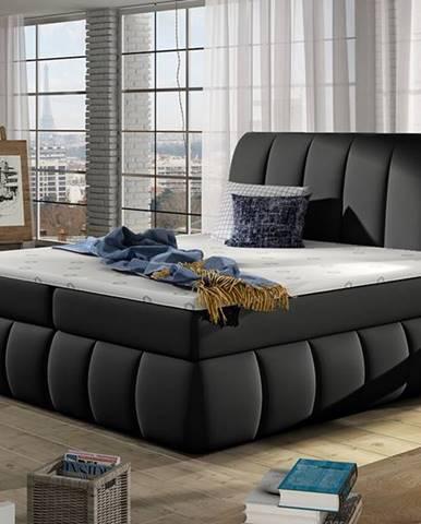 Vareso 140 čalúnená manželská posteľ s úložným priestorom čierna (Soft 11)