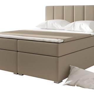 Barmo 140 čalúnená manželská posteľ s úložným priestorom béžová
