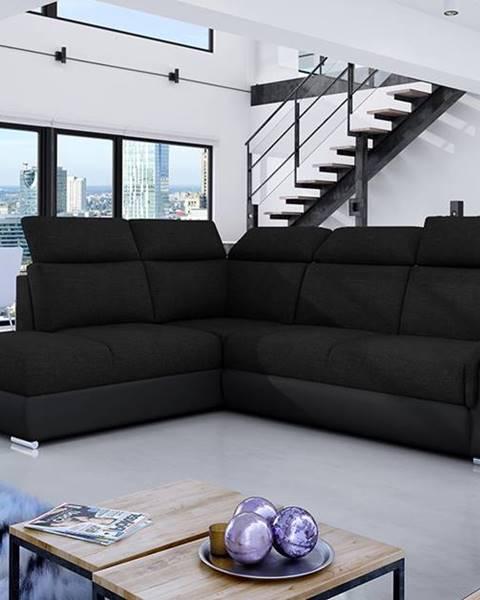 NABBI Leren L rohová sedačka s rozkladom a úložným priestorom čierna (Sawana 14)