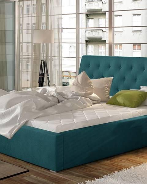 NABBI Monzo UP 200 čalúnená manželská posteľ s roštom tyrkysová