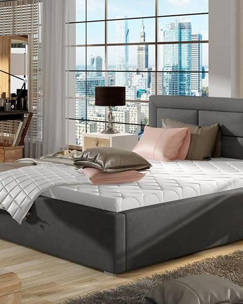 NABBI Rovigo UP 180 čalúnená manželská posteľ s roštom tmavosivá