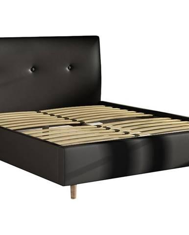 Alegro 160 čalúnená manželská posteľ s roštom čierna