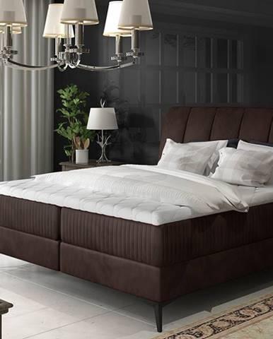 Altama 180 čalúnená manželská posteľ s úložným priestorom tmavohnedá