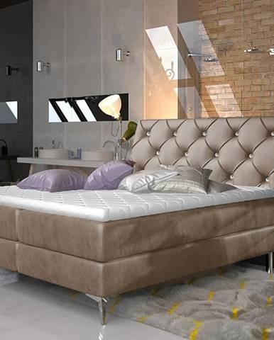 Amika 180 čalúnená manželská posteľ s úložným priestorom hnedá