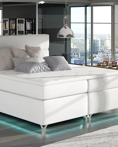 Avellino 180 čalúnená manželská posteľ s úložným priestorom biela