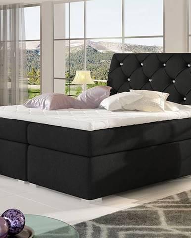 Beneto 160 čalúnená manželská posteľ s úložným priestorom čierna (Sawana 14)