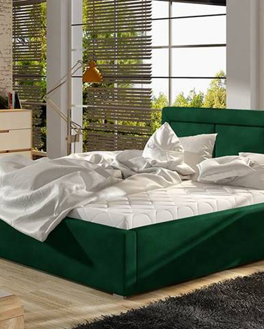 Branco 140 čalúnená manželská posteľ s roštom tmavozelená