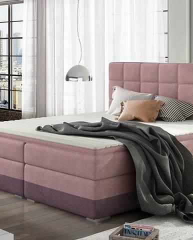 Dalino 160 čalúnená manželská posteľ s úložným priestorom ružová