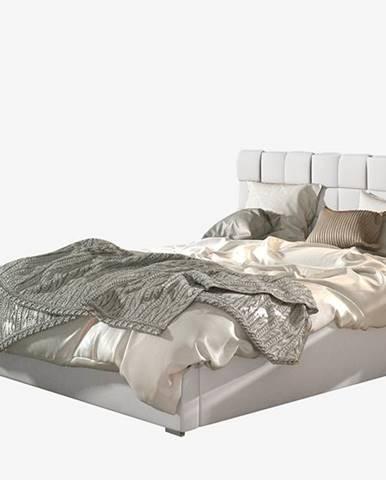 Galimo 160 čalúnená manželská posteľ s roštom biela