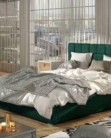 Galimo 180 čalúnená manželská posteľ s roštom tmavozelená