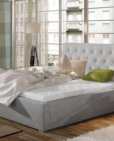 Monzo UP 180 čalúnená manželská posteľ s roštom svetlosivá (Sawana 21)