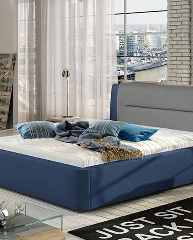 Portima 180 čalúnená manželská posteľ modrá