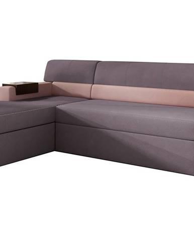 Rieti L rohová sedačka s rozkladom a úložným priestorom fialová
