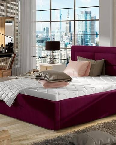 Rovigo UP 160 čalúnená manželská posteľ s roštom vínová