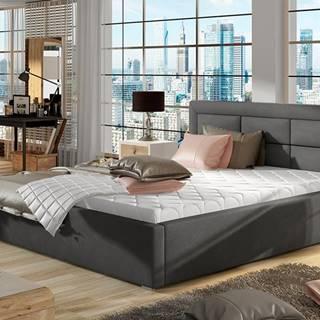 Rovigo UP 180 čalúnená manželská posteľ s roštom tmavosivá