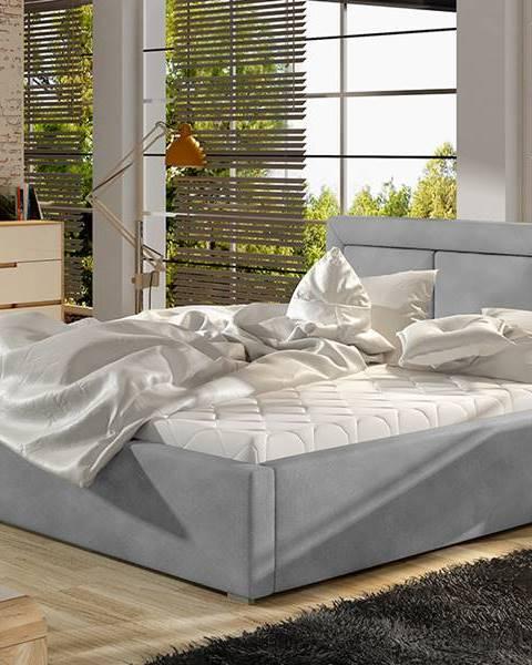 NABBI Branco 140 čalúnená manželská posteľ s roštom svetlosivá (Paros 05)