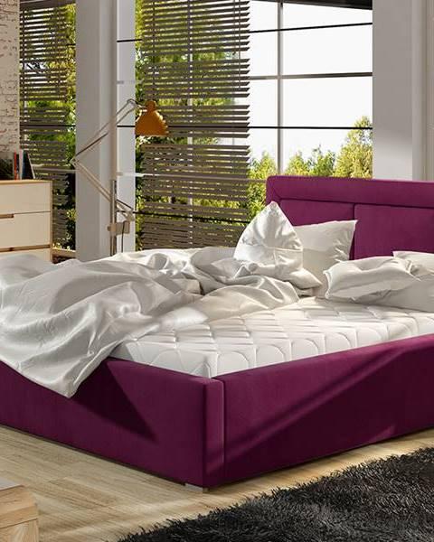 NABBI Branco 160 čalúnená manželská posteľ s roštom vínová