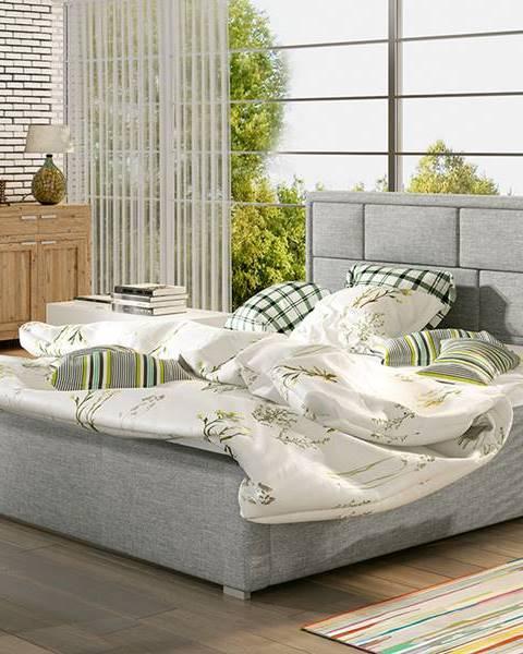 NABBI Liza 180 čalúnená manželská posteľ s roštom svetlosivá (Sawana 21)