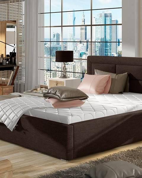NABBI Rovigo UP 160 čalúnená manželská posteľ s roštom tmavohnedá (Sawana 26)