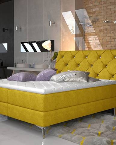 Amika 180 čalúnená manželská posteľ s úložným priestorom žltá
