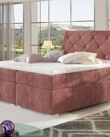Beneto 160 čalúnená manželská posteľ s úložným priestorom ružová (Kronos 29)