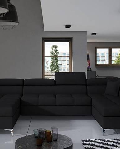 Enrico U P rohová sedačka u s rozkladom a úložným priestorom čierna (Sawana 14)