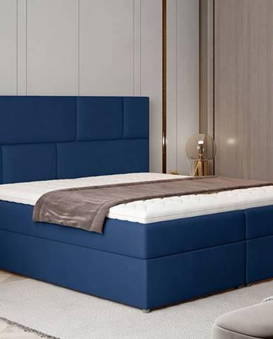 Ferine 145 čalúnená manželská posteľ s úložným priestorom tmavomodrá