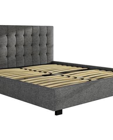 Maren 160 čalúnená manželská posteľ s roštom svetlosivá