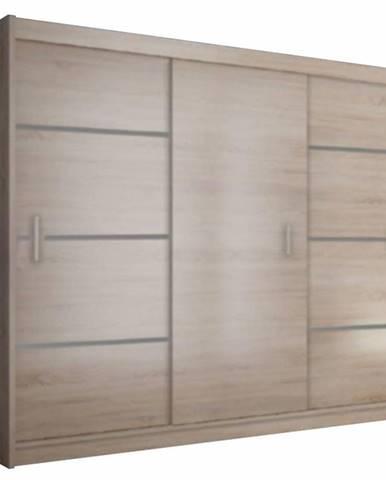 Merina 250 3D šatníková skriňa s posuvnými dverami dub sonoma