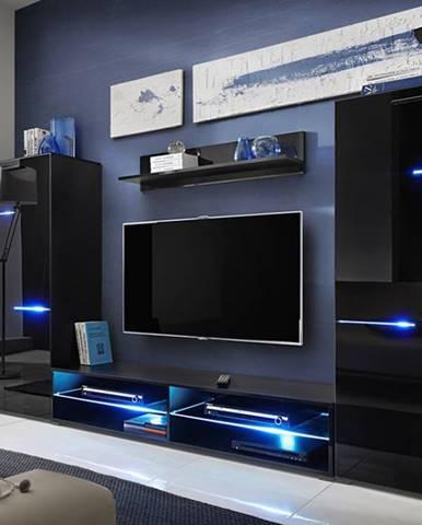 Modern obývacia stena s osvetlením čierna