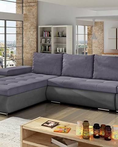 Oristano L rohová sedačka s rozkladom a úložným priestorom fialová