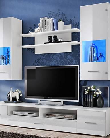 Reno obývacia stena s osvetlením biela