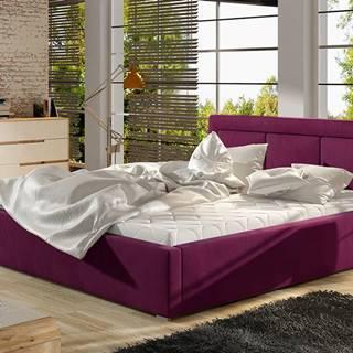 Branco 160 čalúnená manželská posteľ s roštom vínová