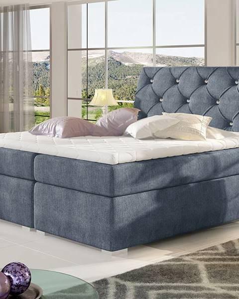 NABBI Beneto 140 čalúnená manželská posteľ s úložným priestorom modrá