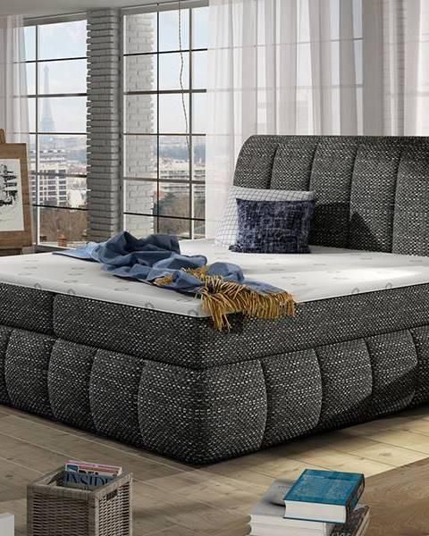 NABBI Vareso 140 čalúnená manželská posteľ s úložným priestorom čierna (Berlin 02)