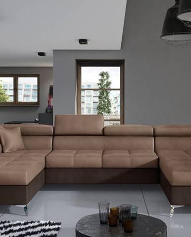 Enrico U L rohová sedačka u s rozkladom a úložným priestorom hnedá