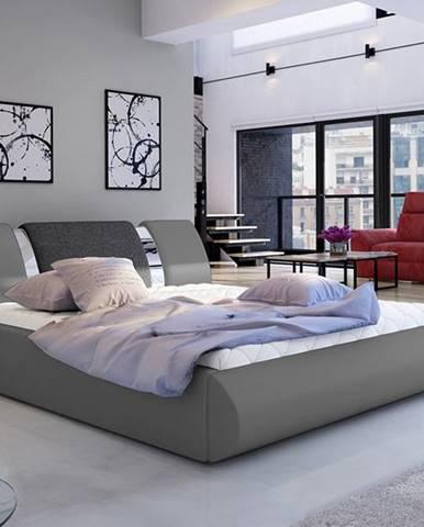 Folino 160 čalúnená manželská posteľ s roštom sivá