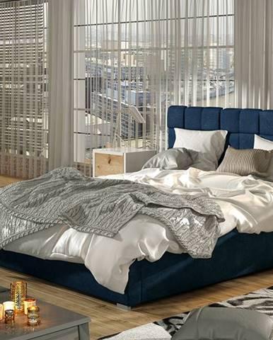 Galimo UP 160 čalúnená manželská posteľ s roštom tmavomodrá