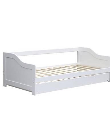 Intro 90 drevená rozkladacia posteľ s prísteľkou biela
