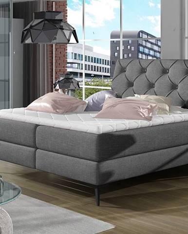 Lazio 140 čalúnená manželská posteľ s úložným priestorom sivá